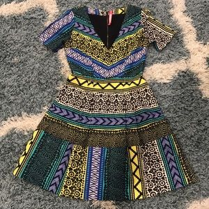 Bright patterned pleated Tracy Reese dress, size 2